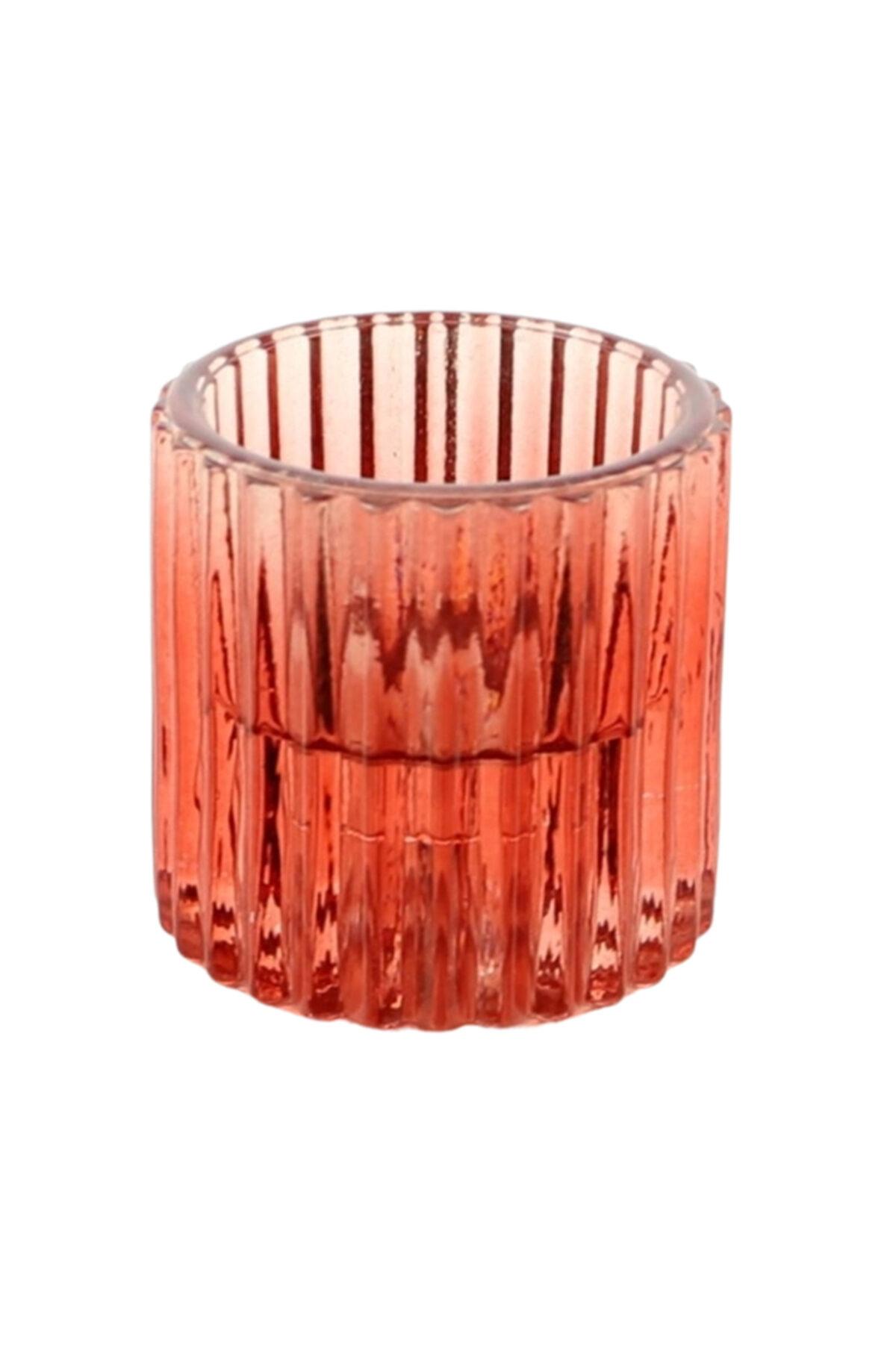 Portacandele porta t-light in vetro rosso d. 5,5 h. 6 cm