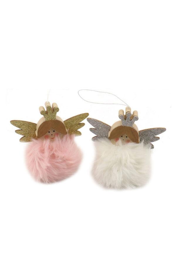 Set 2 angioletti in stoffa con tutù di pelo rosa e bianco, corona e ali glitter da appendere d. 8 cm h. 13 cm