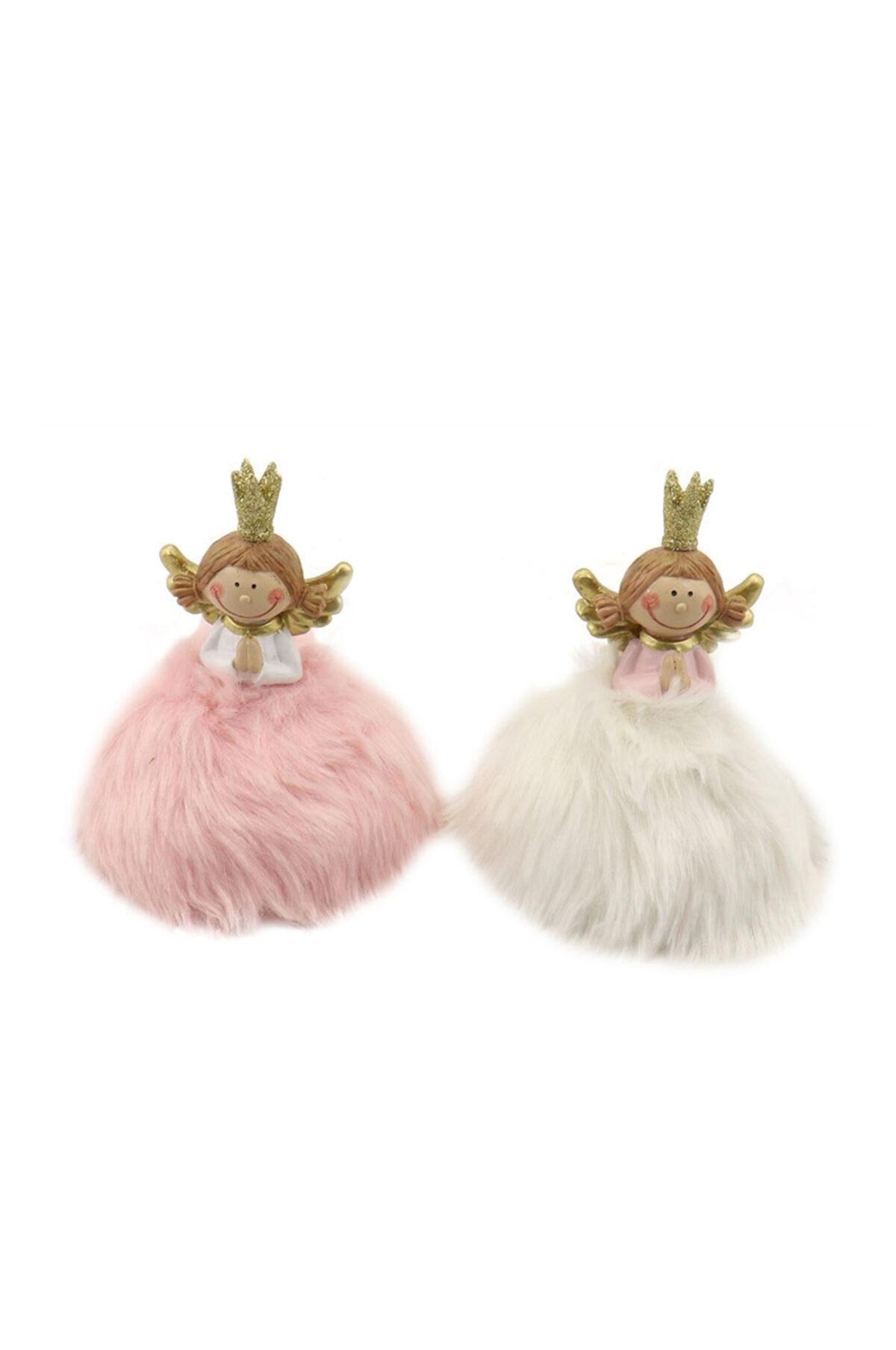 Set 2 angioletti in ceramica con tutù di pelo rosa e bianco, corona glitter e ali oro d. 9 cm h. 11,5 cm
