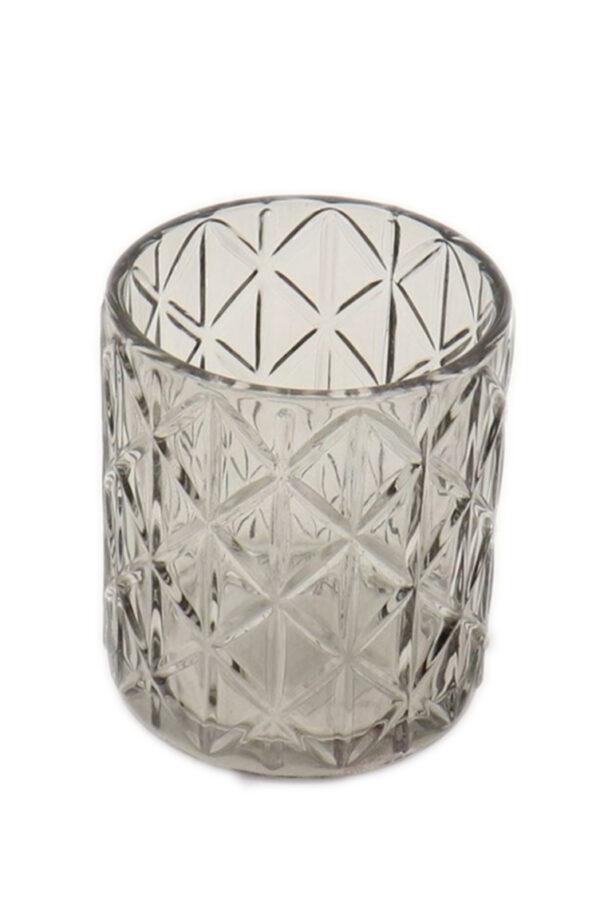 Portacandele porta t-light in vetro grigio brillante d. 8,5 h. 10 cm