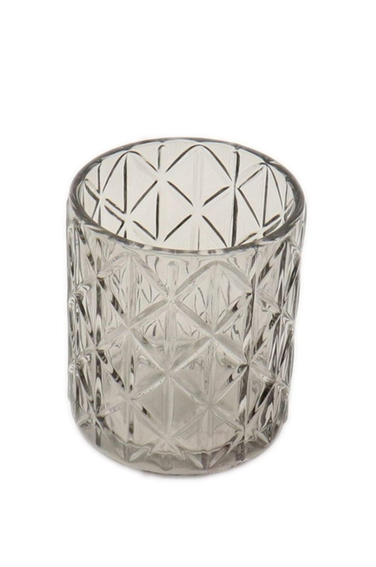 Portacandele porta t-light in vetro grigio brillante d. 12,5 h. 10 cm