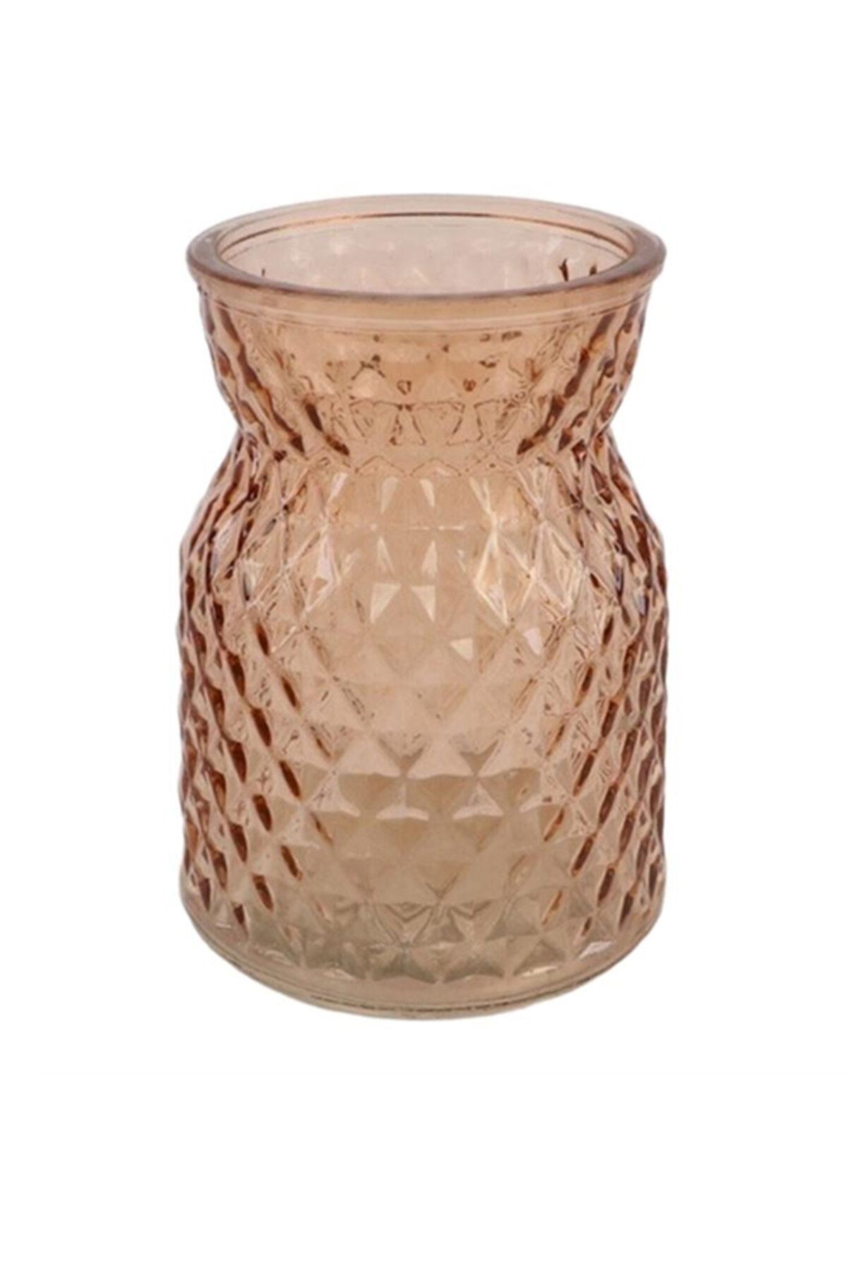 Vaso portafiori - portacandele in vetro color ambra d. 10 cm h. 13 cm