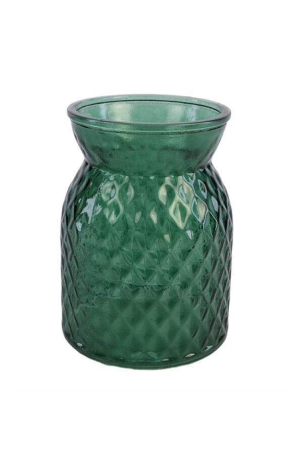 Vaso portafiori - portacandele in vetro verde d. 10 cm h. 13 cm