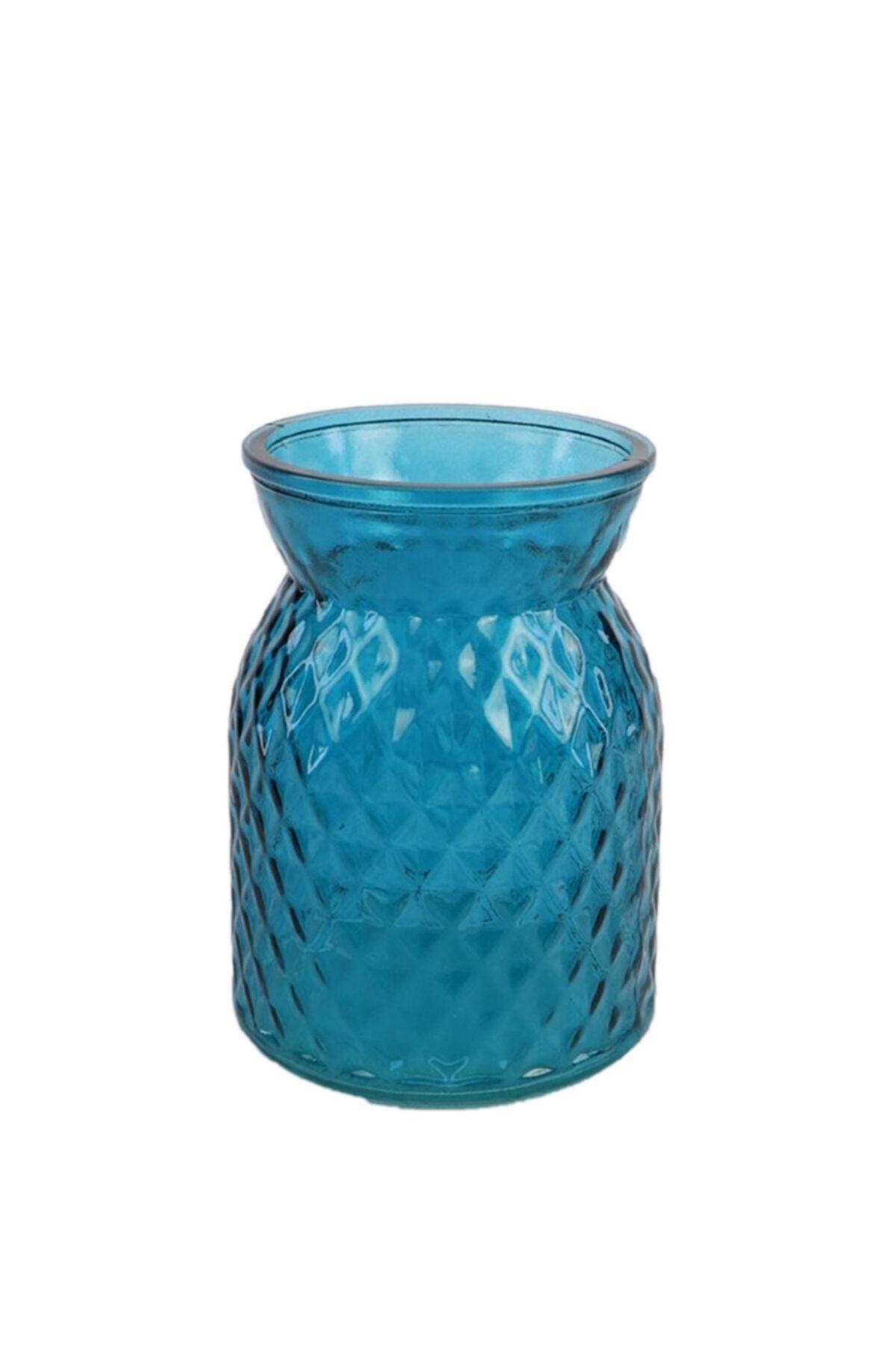 Vaso portafiori - portacandele in vetro blu d. 10 cm h. 13 cm