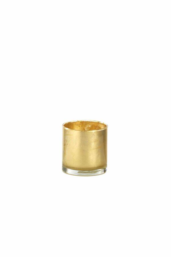 Cilindro in vetro con colorazione artigianale foglia oro d. 10 cm h. 10 cm