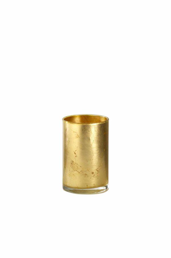 Cilindro in vetro con colorazione artigianale foglia oro d. 10 cm h. 15 cm