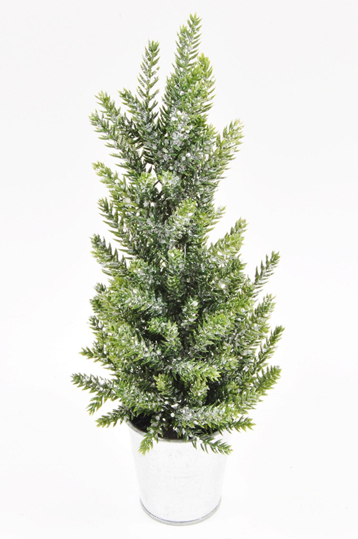 Albero di Natale verde con glitter in vaso di metallo argento 33 cm