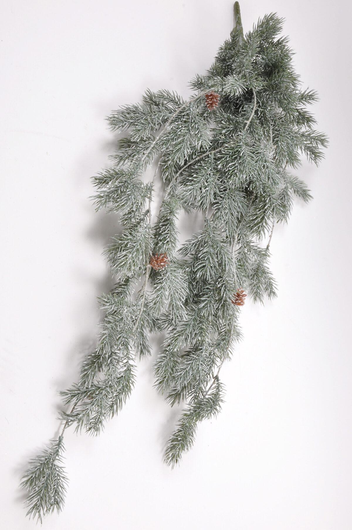 Ramo artificiale di pino nevicato pendente 91,5cm