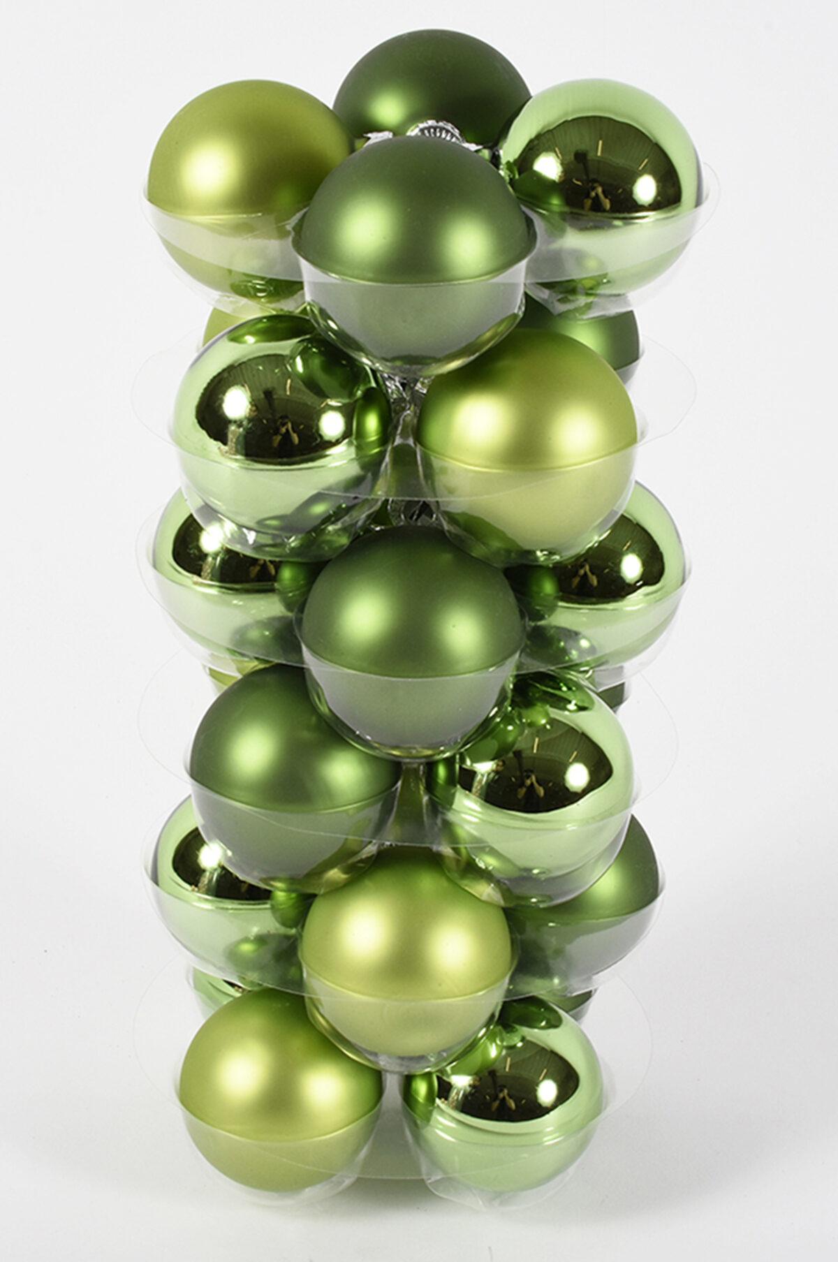 Set da 24 palline di Natale in vetro di colore verde (mat e lucido) 6 cm