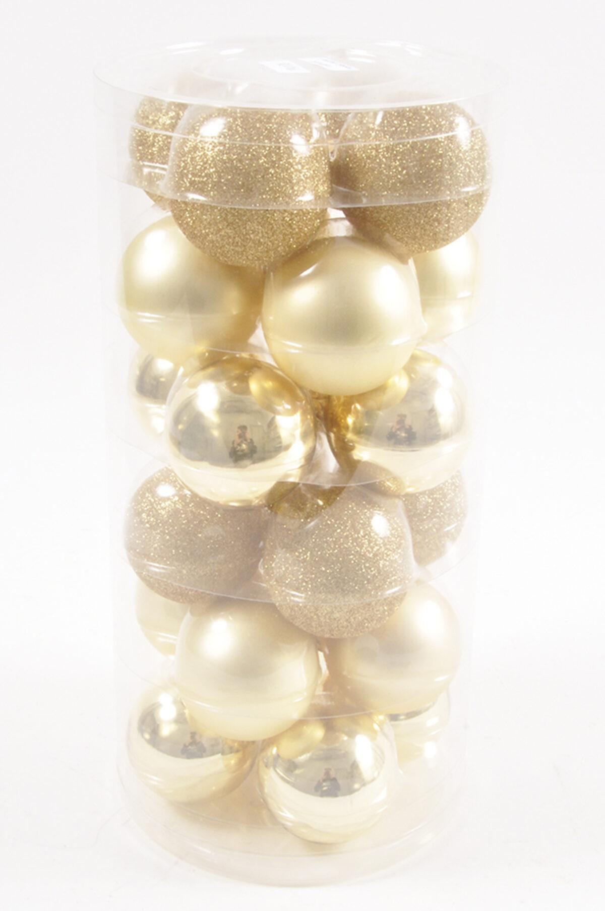 Set da 24 palline di Natale in vetro di colore oro 6 cm