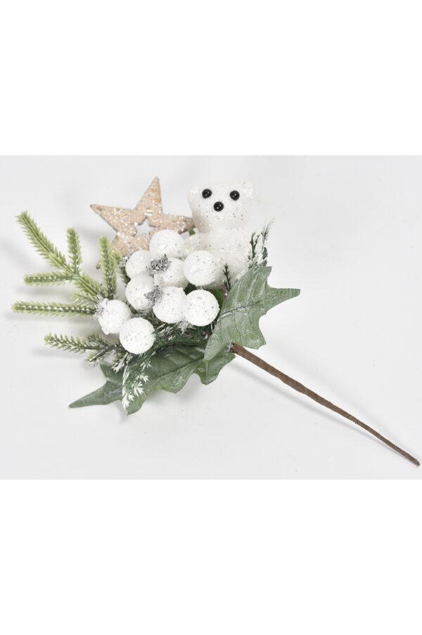 Set di 6 pick con pino, stellina, orsetto e bacche con glitter 23cm