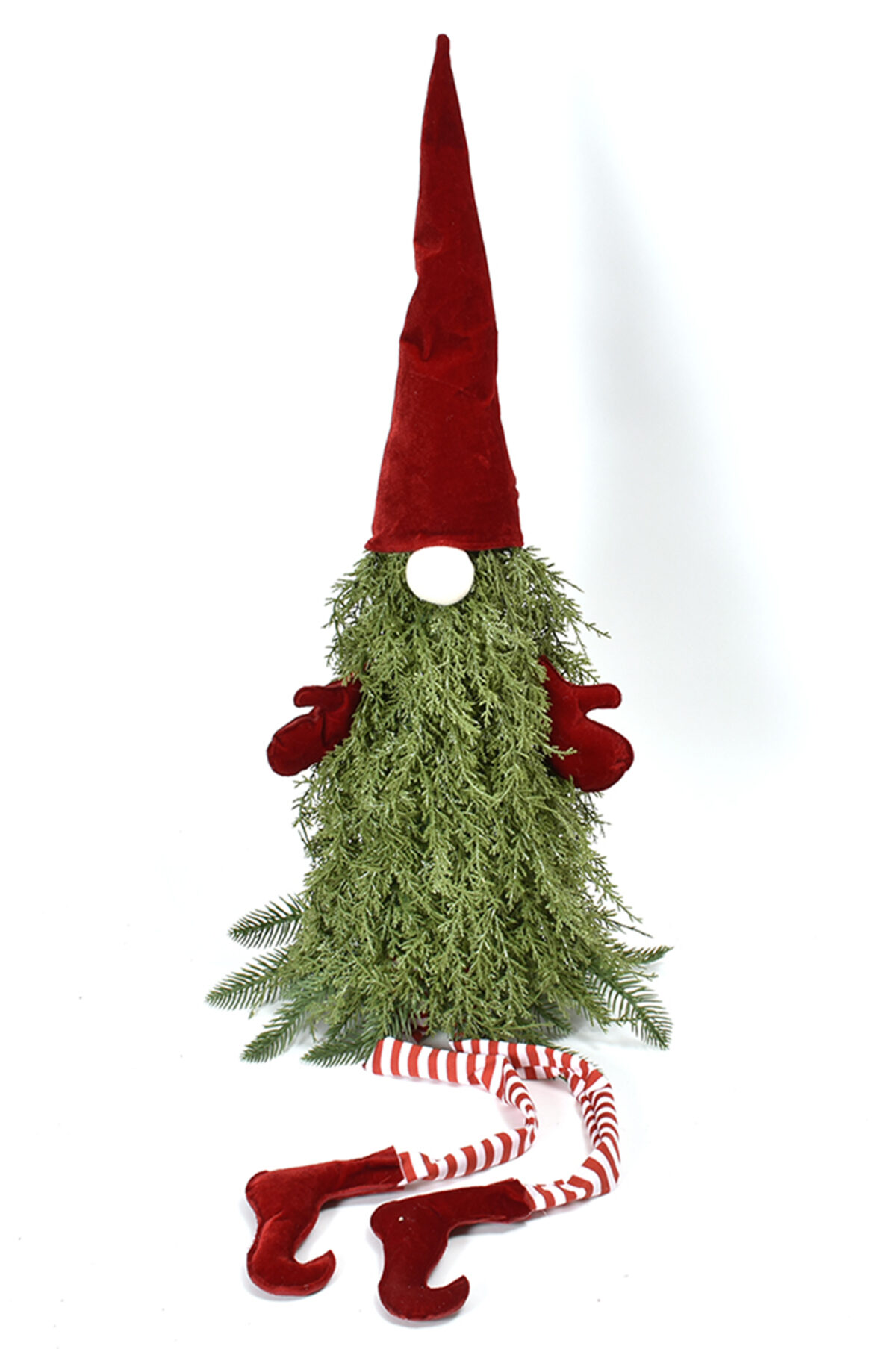 Gnomo pupazzo con corpo di foglie di cipresso verde con cappello rosso 75 cm