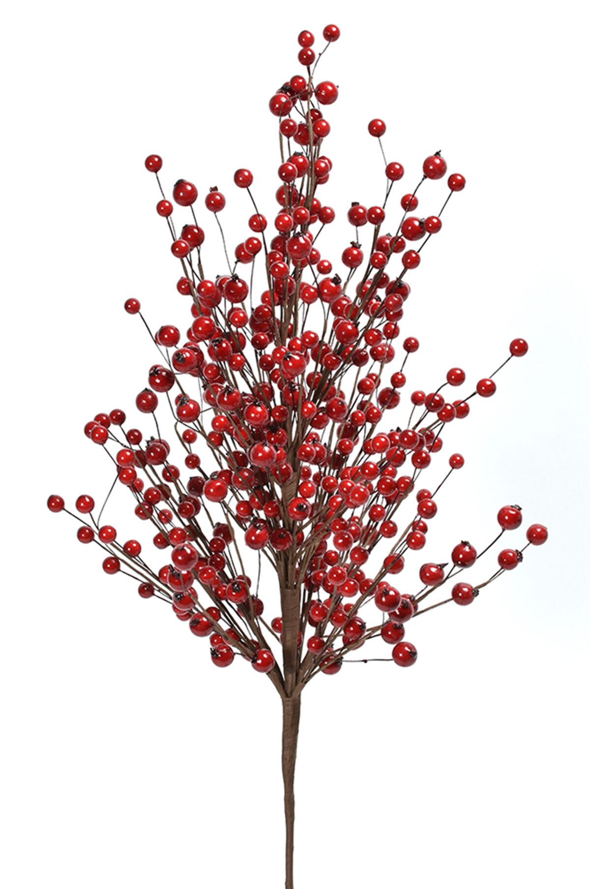Ramo artificiale con bacche di agrifoglio rosse 75 cm