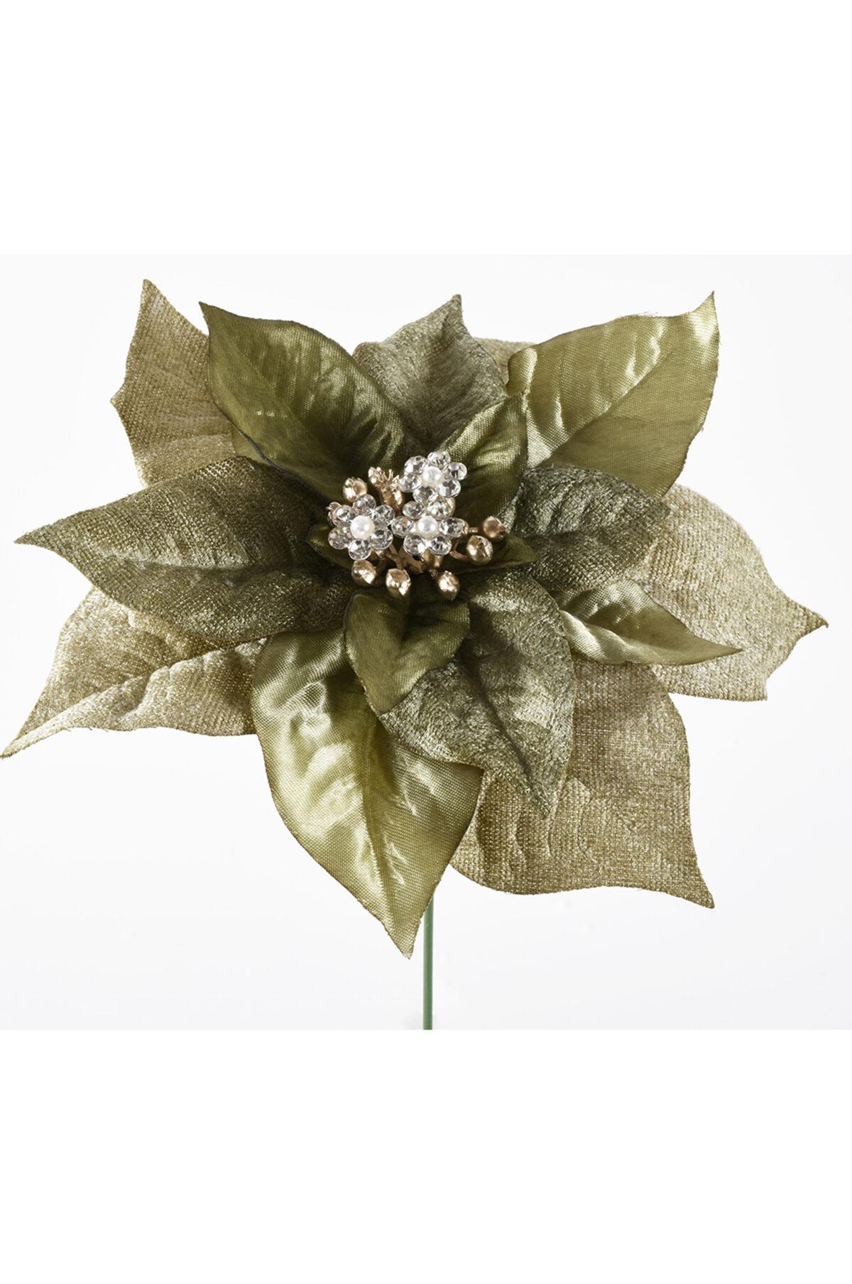 Pick stella di Natale oro con cristalli 15 cm