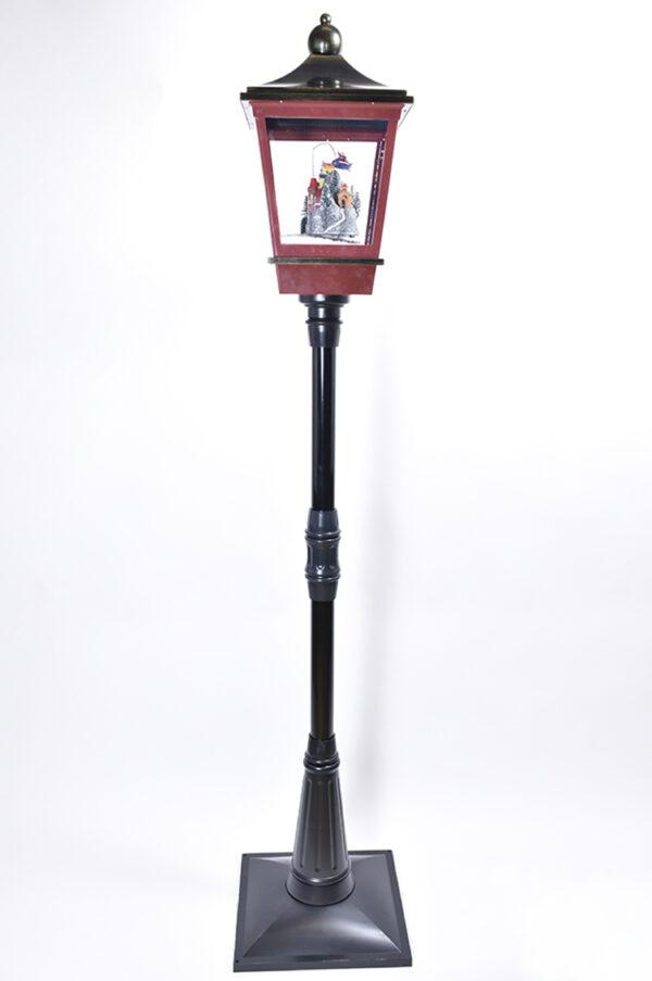 Lampione animato con neve che cade e Babbo Natale che vola 184 cm