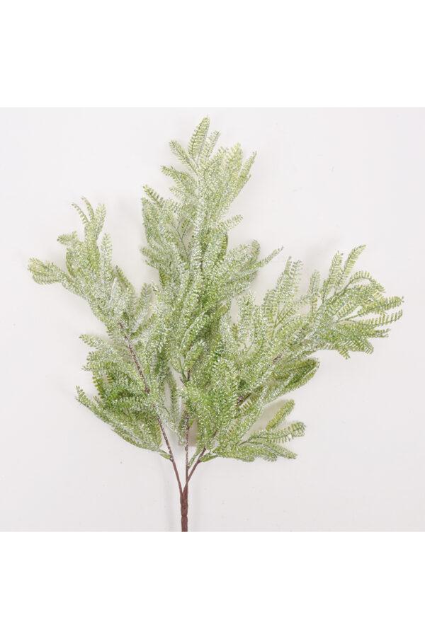 Mimosa artificiale effetto ghiacciato con glitter con 3 rami 48cm