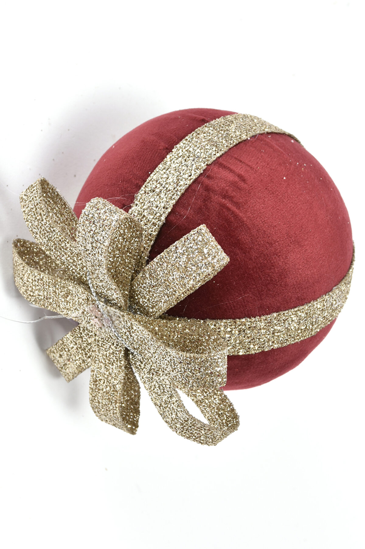 Pallina di Natale di velluto bordeaux con fiocco oro d. 10 cm