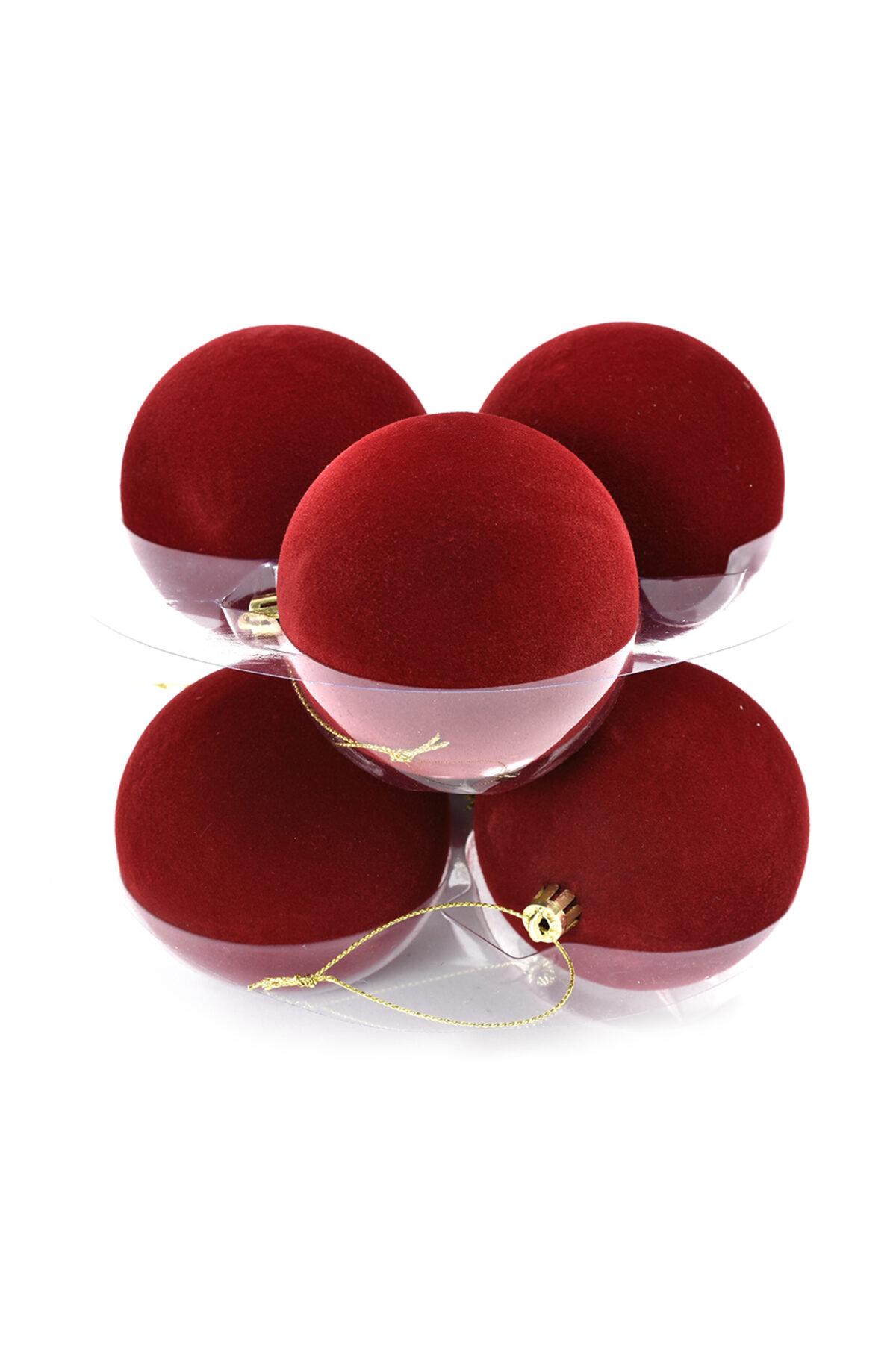 Set da 6 palline di Natale in velluto di colore bordeaux 8 cm