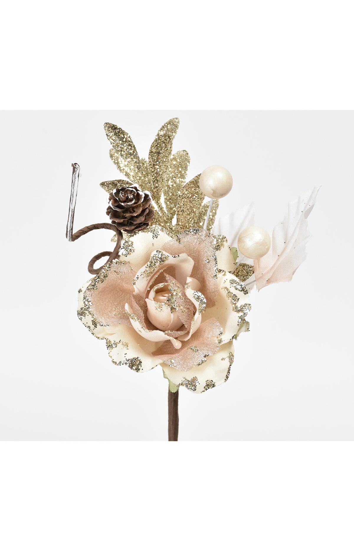 Set 12 pick rosa color champagne con bacche e pigne con glitter 17 cm