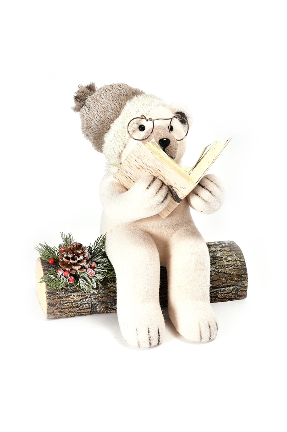 Orso seduto su tronco color crema con libro 38x29x37cm