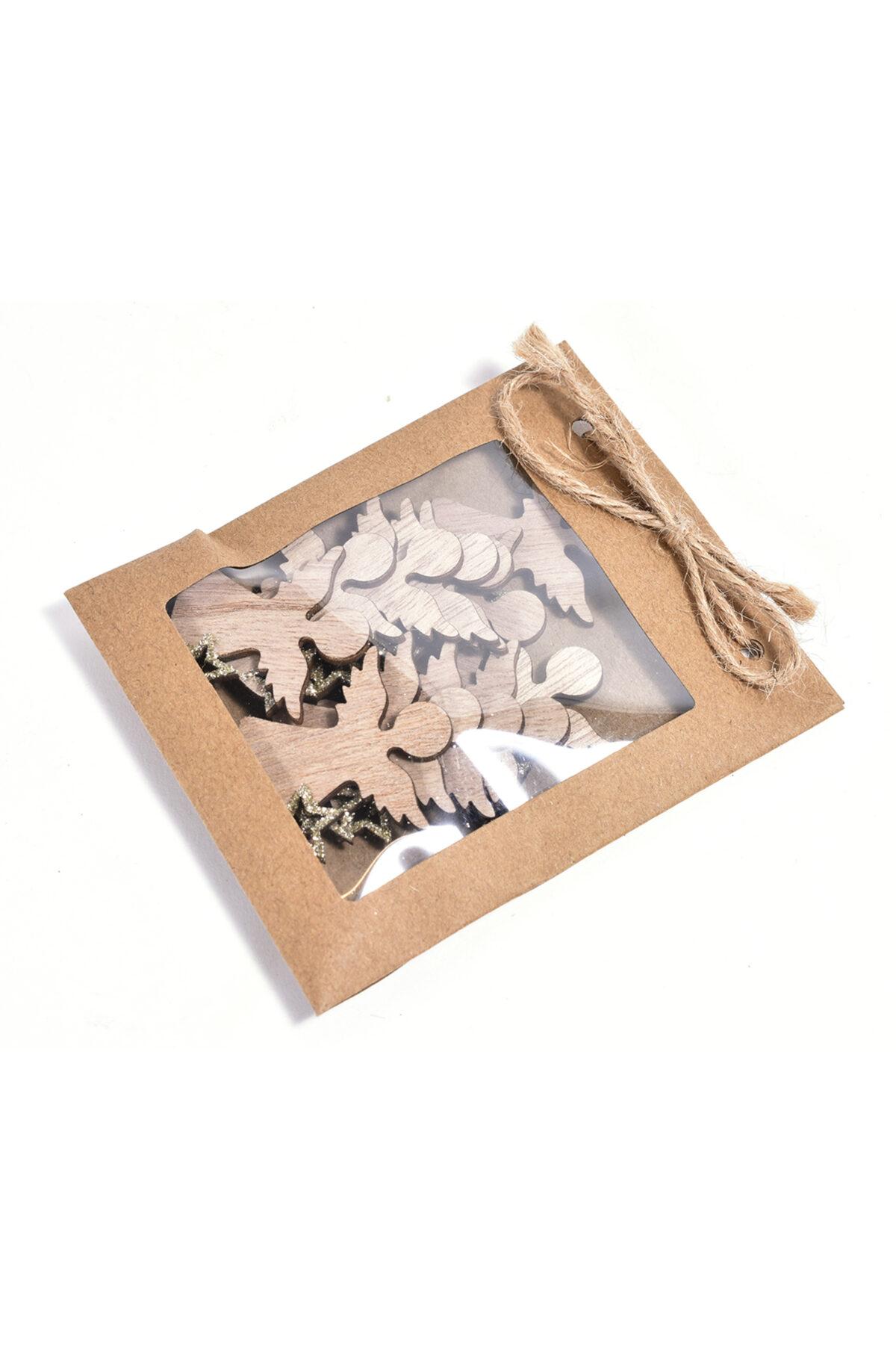 Bustina con 12 angeli chiudipacco di legno color naturale e stelline glitterate oro h. 4 cm