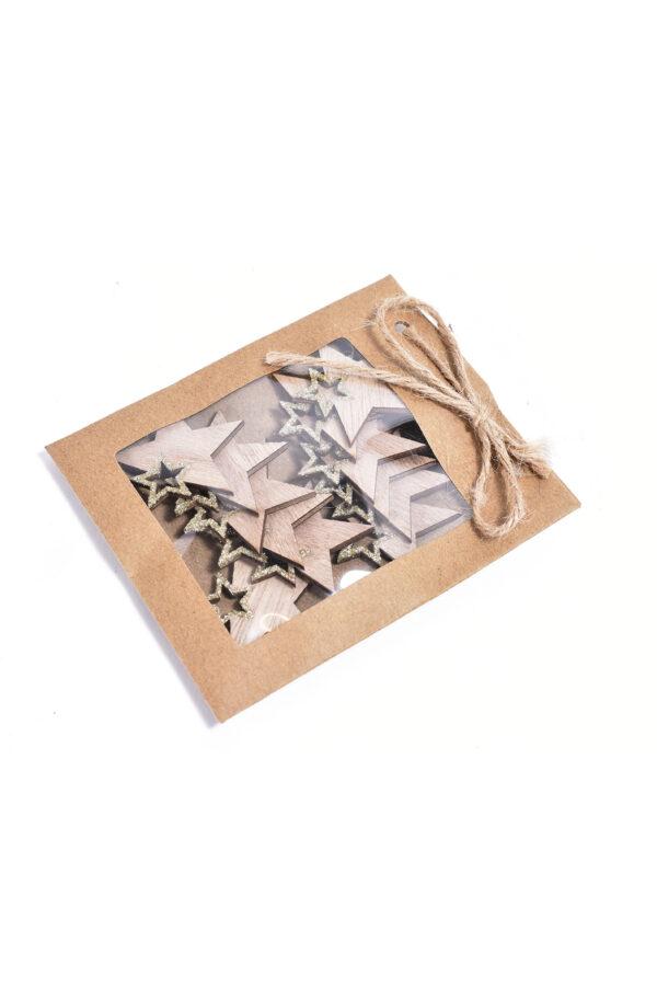 Bustina con 12 stelle chiudipacco di legno color naturale e con glitter oro h. 4cm