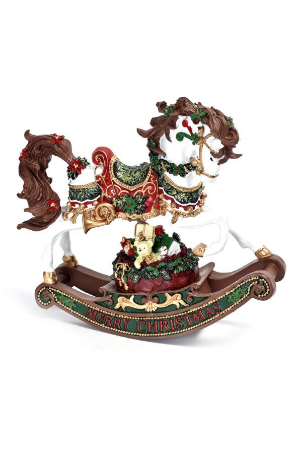 """Carillon cavallo a dondolo bianco con scritta """"Marry Christmas"""" h. 21,5 cm"""