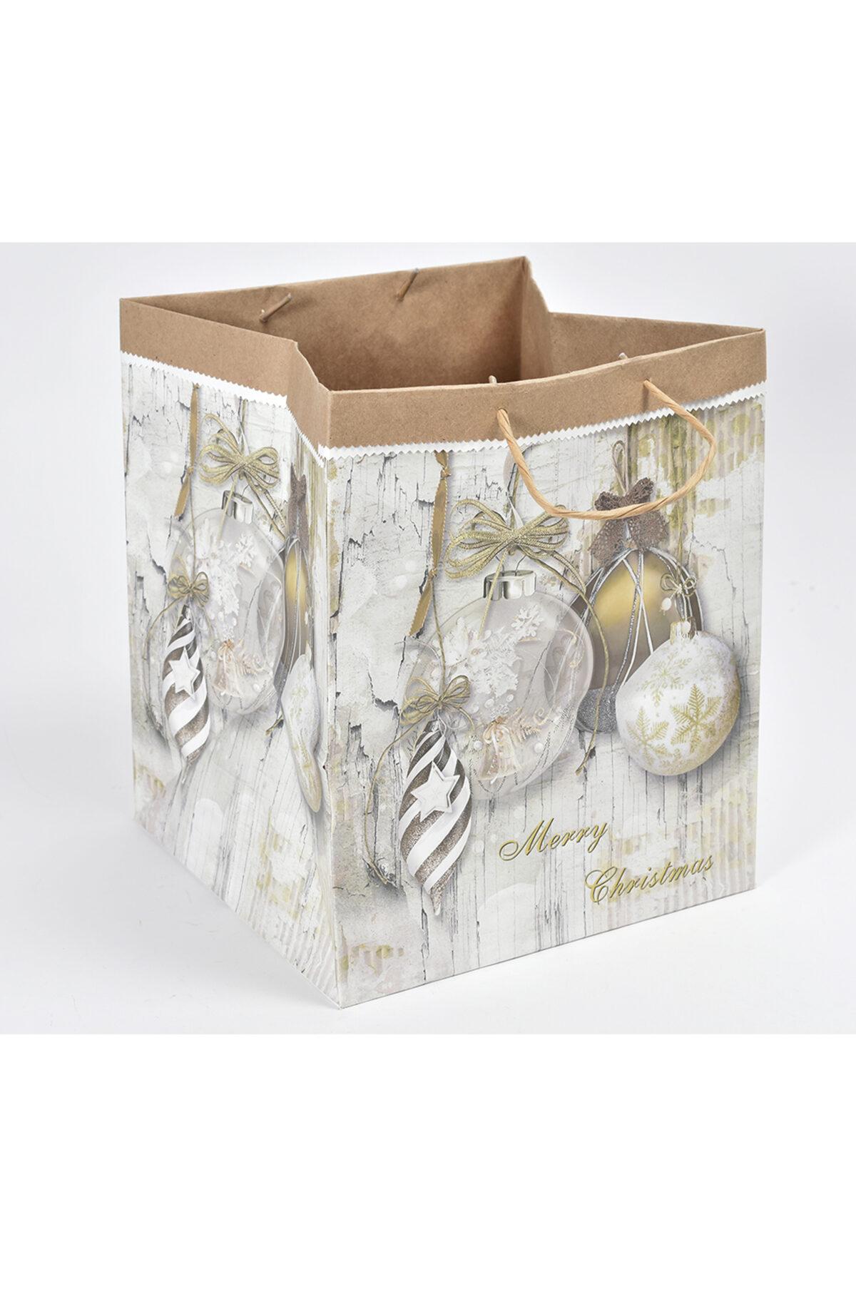 Busta regalo a borsa con manici in carta decorata 24,5x24,5x30cm