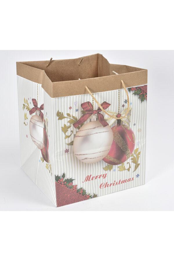 Busta regalo a borsa con manici in carta bianca decorata 24,5x24,5x30cm