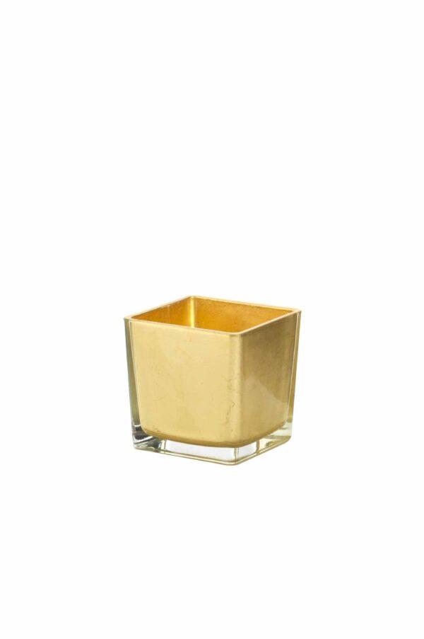 Cubo in vetro con colorazione artigianale foglia oro 14 x 14 cm