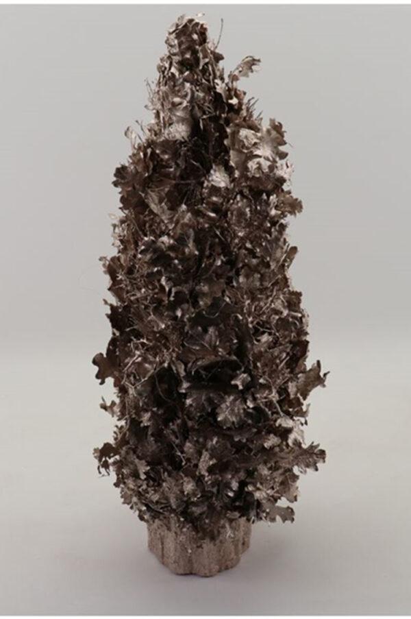 Albero di Natale con foglie e rami di quercia secchi e stabilizzati con glitter color champagne h. 60 cm