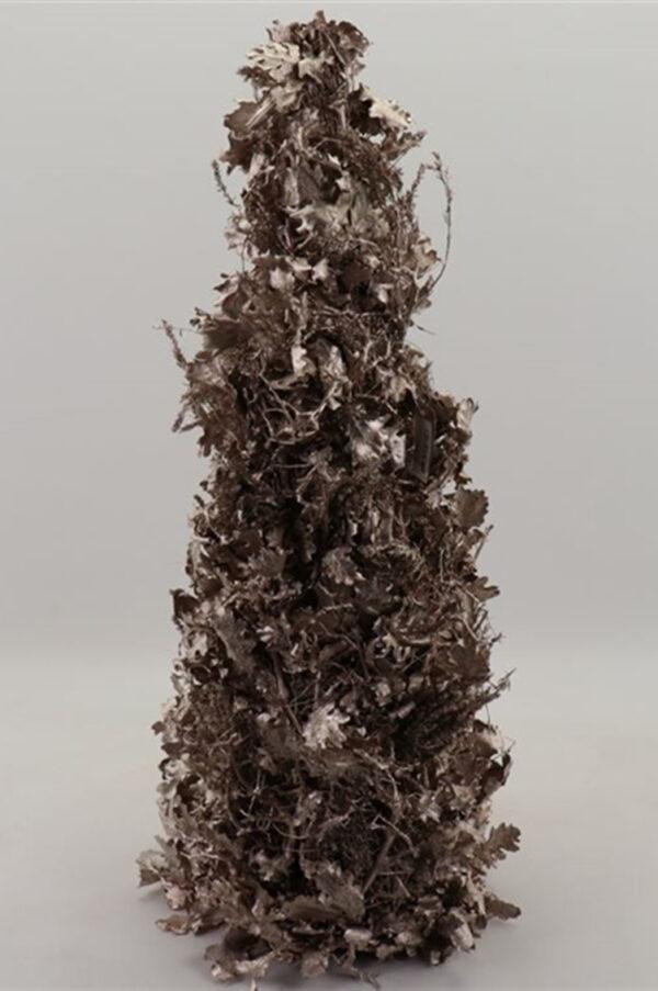 Albero natalizio con foglie e rami essiccati e stabilizzati con glitter color champagne h. 80 cm