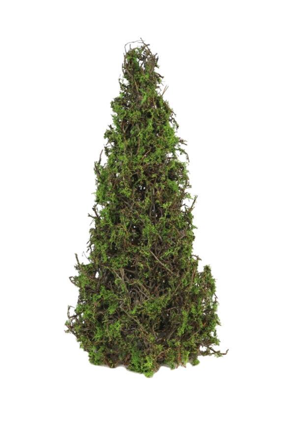 Albero natalizio a forma di cono con foglie verdi e rametti di bonsai e muschioessiccati e stabilizzati 60 cm
