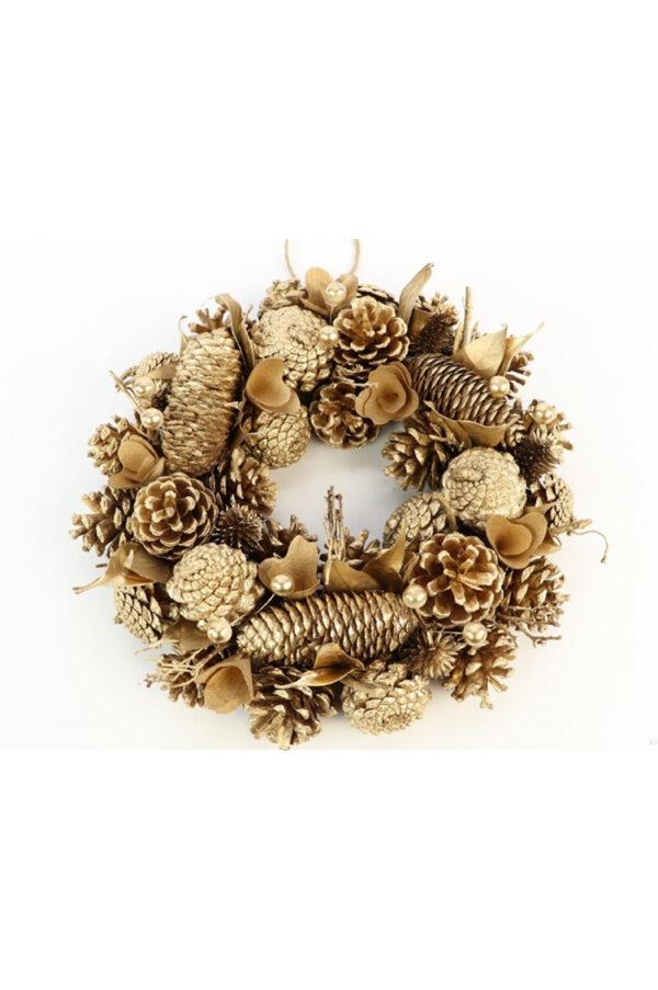 Ghirlanda con pigne, foglie e perle oro d. 30 cm h. 7 cm
