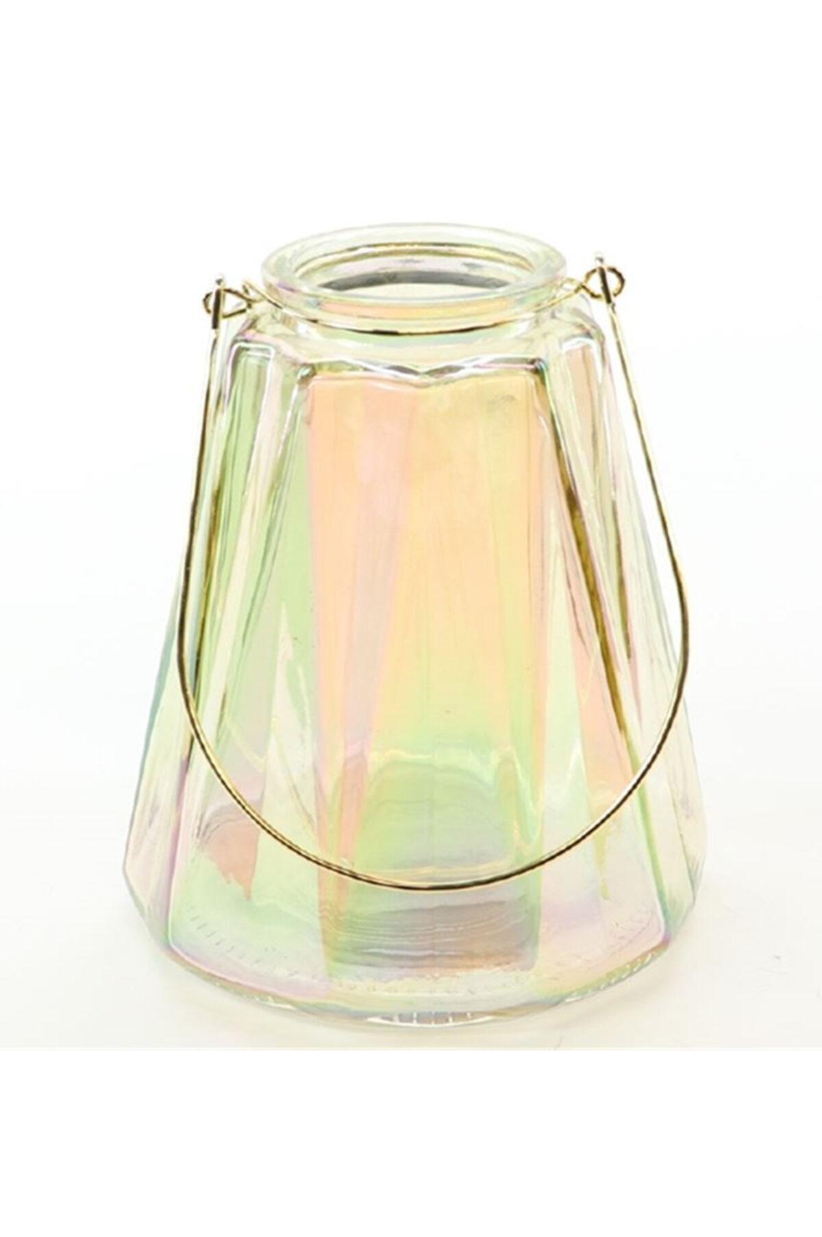 Portacandele porta t-light in vetro oro iridescente con manico d. 13 h. 14,5 cm