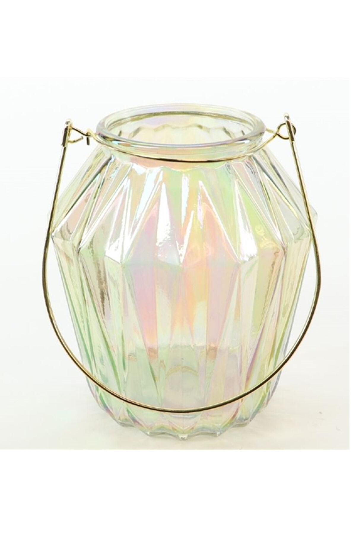 Portacandele porta t-light in vetro oro iridescente con manico d. 13 h. 16 cm