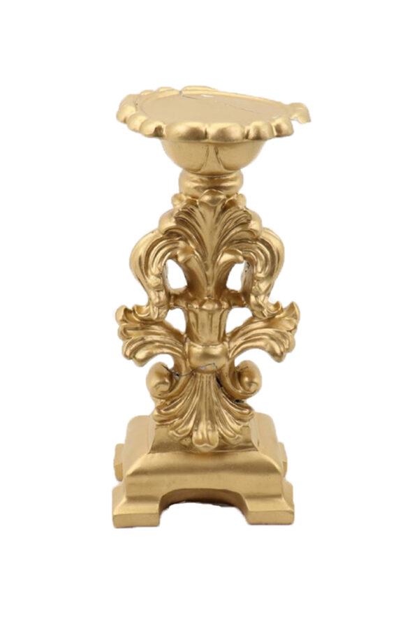Portacandele 1 fiamma stile classico oro l. 11,5 h. 25 cm