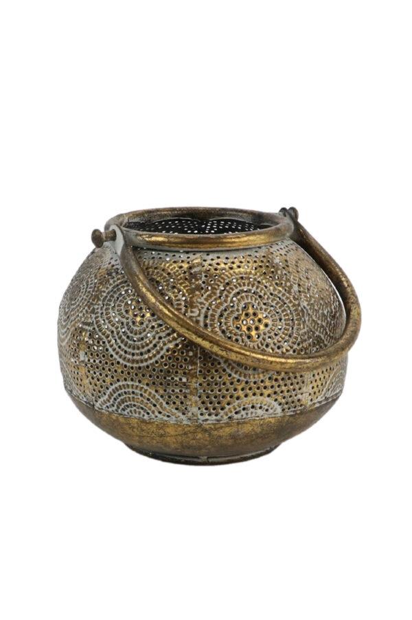 Lanterna intarsiata tondeggiante stile marocchino oro antichizzato con manico d. 14,5 h. 12 cm