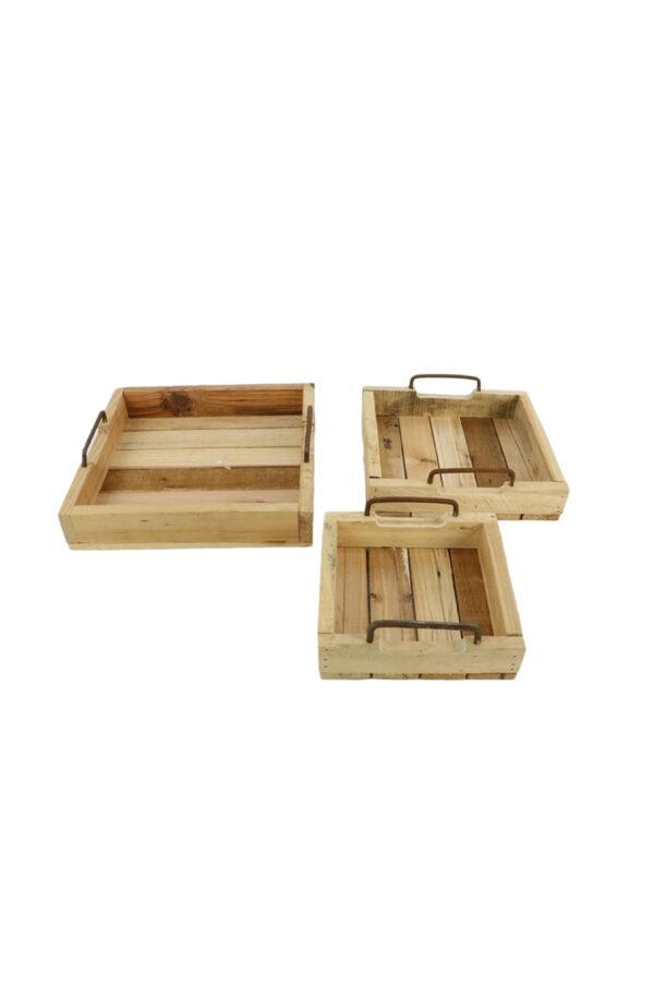 Set di 3 vassoi - cassette in legno chiaro con manici in ferro effetto Corten