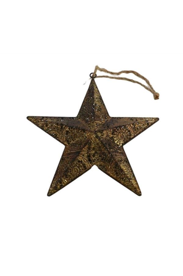 Stella da appendere in metallo intarsiato color oro anticato l. 17 h. 4 cm