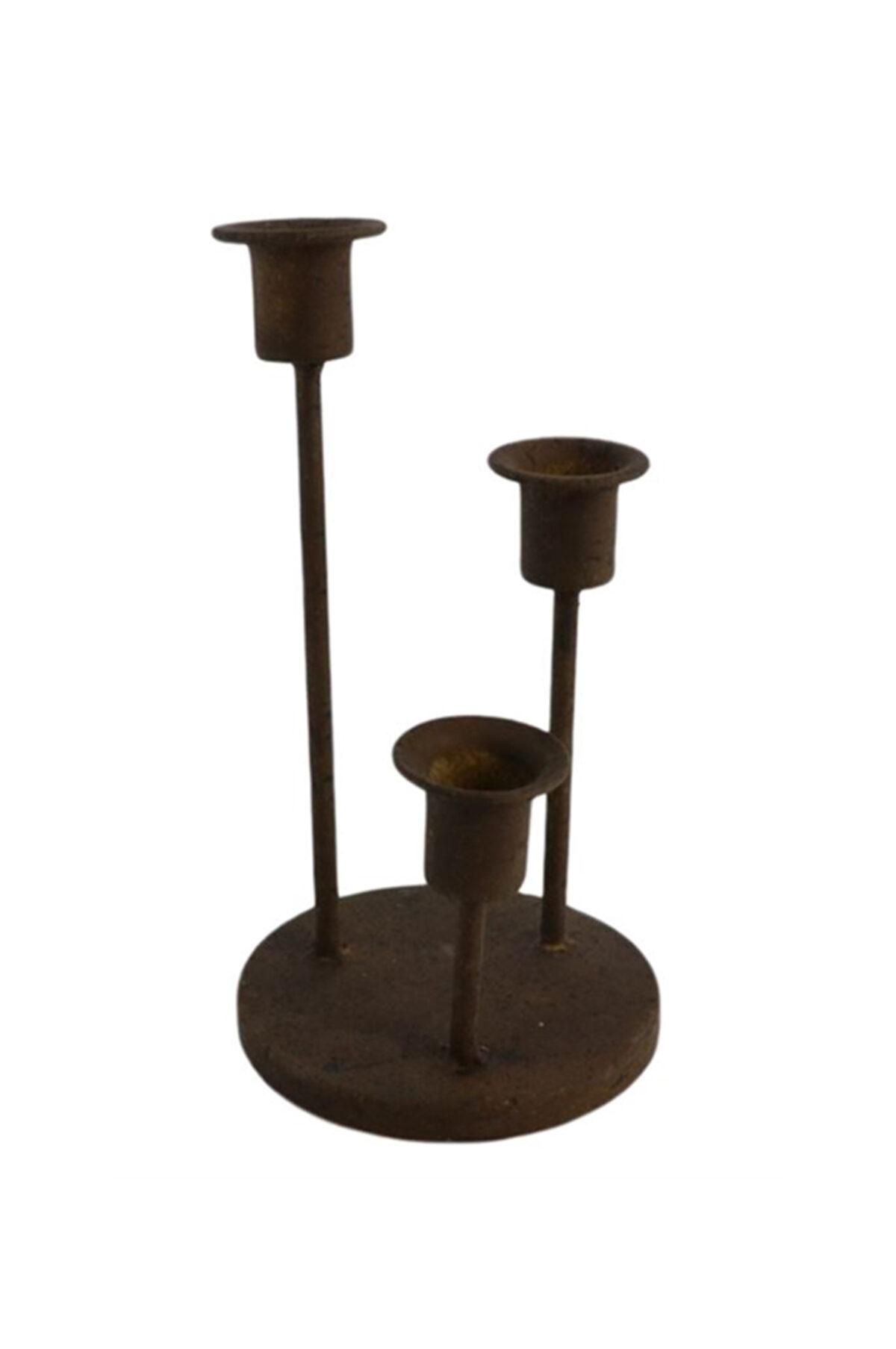 Portacandele a 3 fiamme in ferro effetto Corten d. 10,5 h. 19 cm