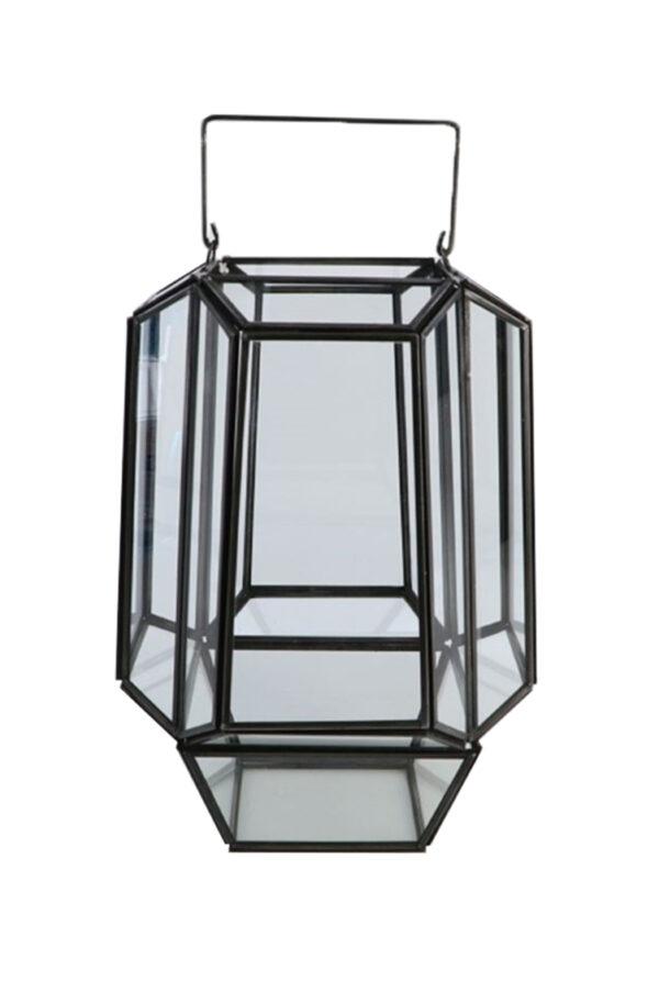 Lanterna geometrica in vetro e zinco d. 19 h. 29 cm