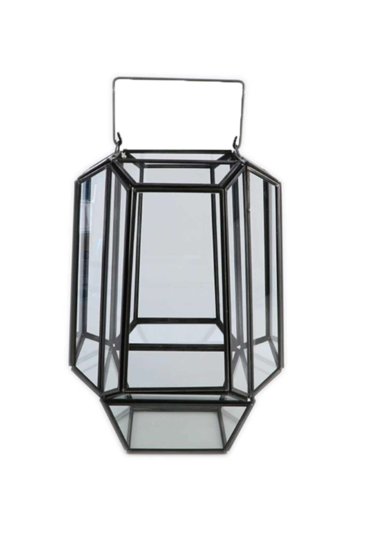 Lanterna geometrica in vetro e zinco d. 19 h. 34 cm