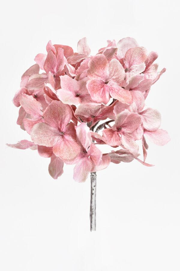 Ramo di ortensia artificiale rosa con glitter h. 48 cm