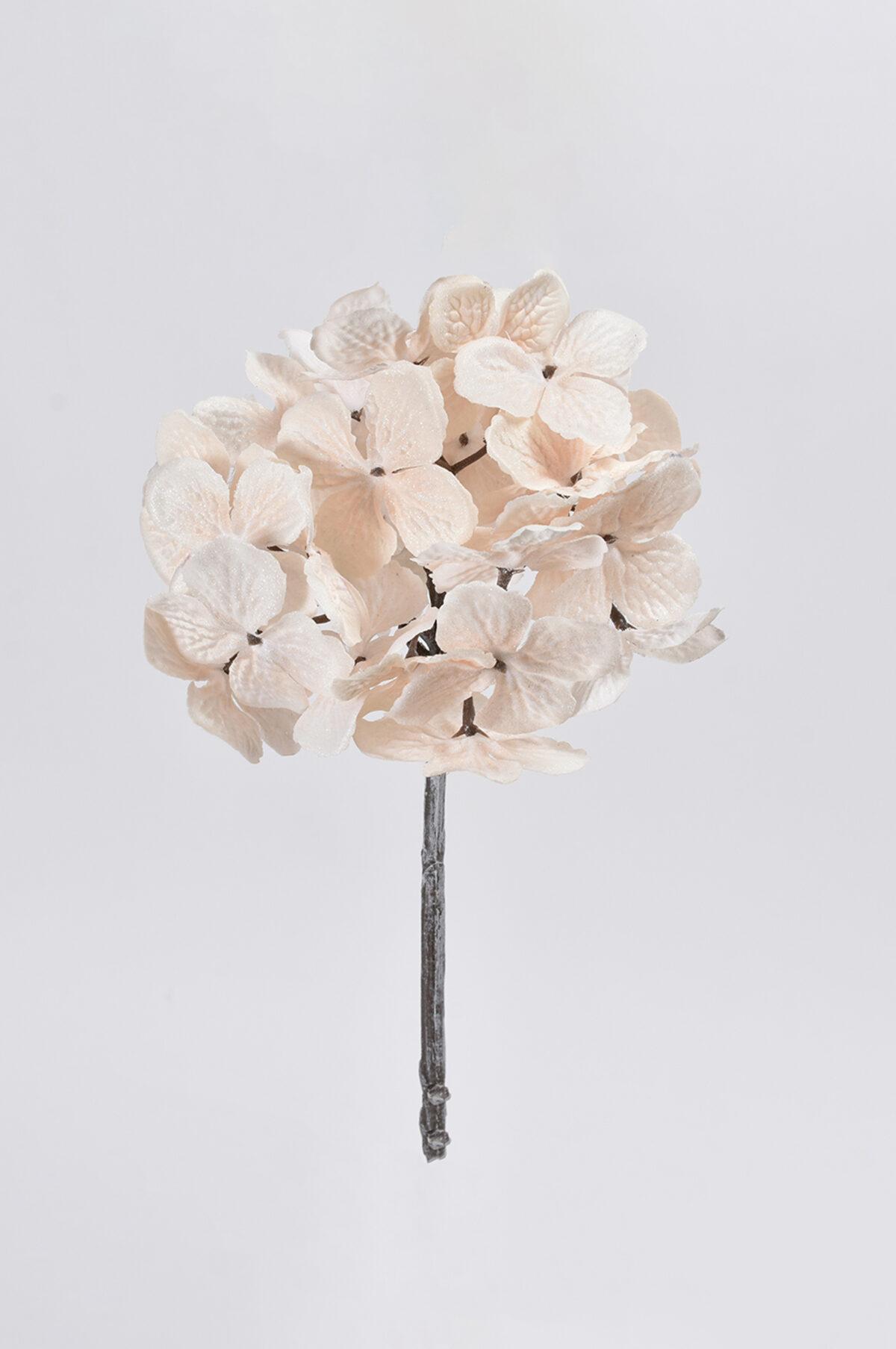 Ramo di ortensia artificiale color champagne con glitter h. 48 cm