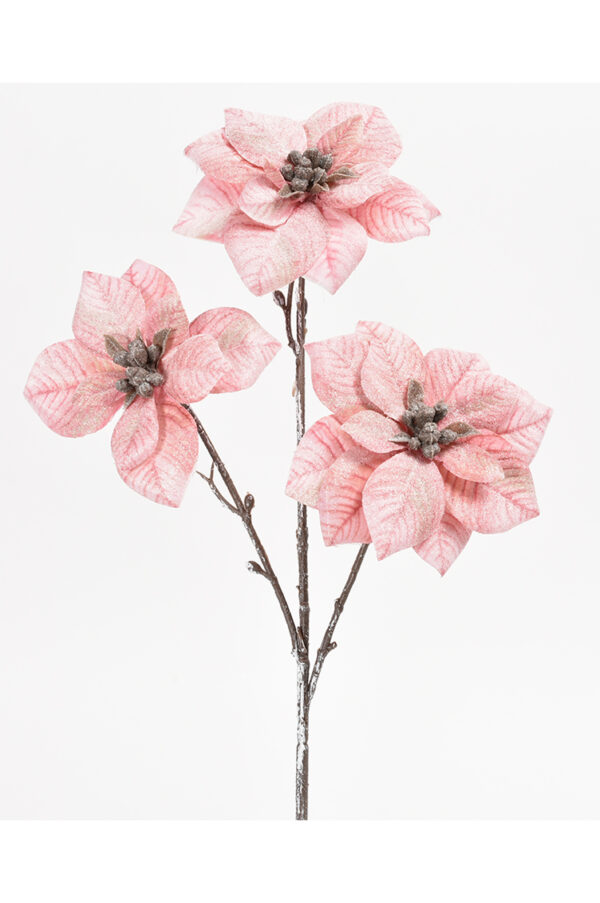 Stella di Natale artificiale con 3 fiori rosa scuro con glitter 43 cm