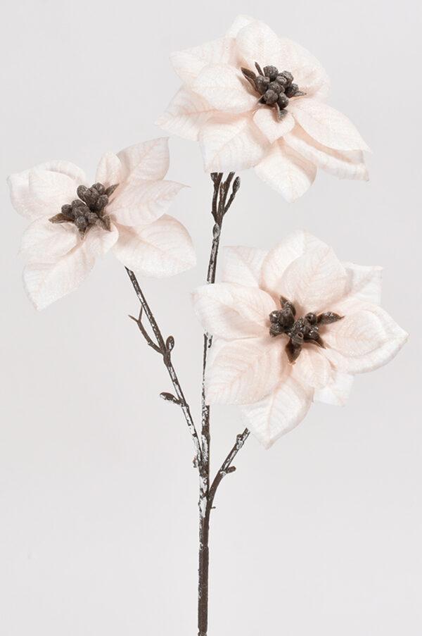 Stella di Natale artificiale con 3 fiori rosa chiaro 43 cm