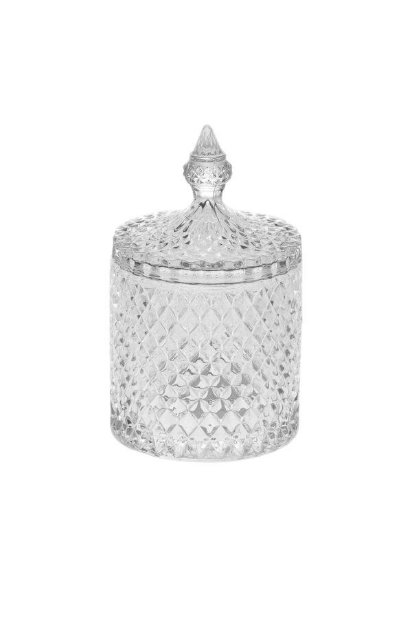 Coppa Potiche Portaconfetti con coperchio in vetro stile boemia d. 10,5 h. 17 cm