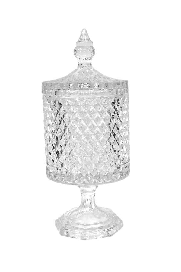 Coppa Potiche Portaconfetti con coperchio in vetro stile boemia d. 10,5 h. 27 cm