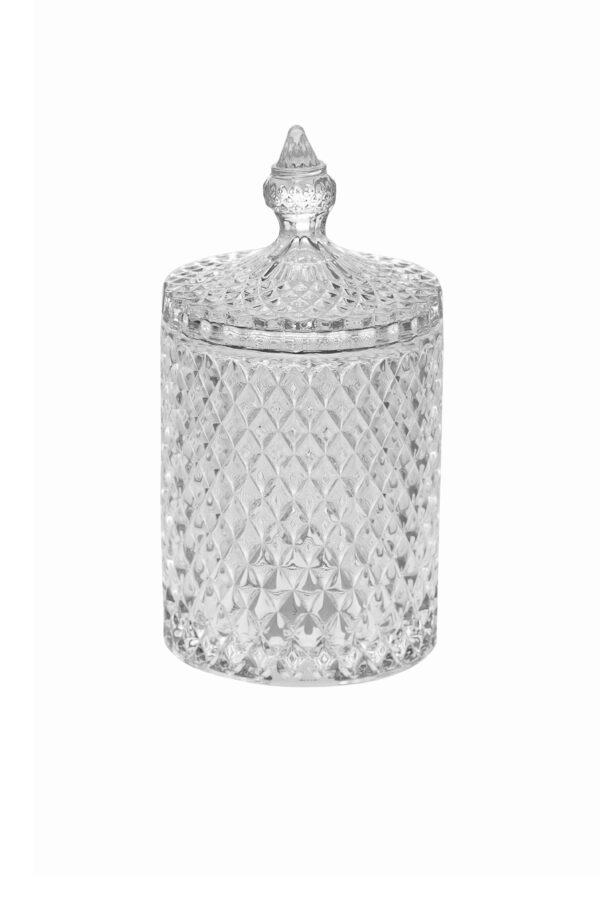 Coppa Potiche Portaconfetti con coperchio in vetro stile boemia d. 10,5 h. 21 cm